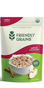 Friendly Grains Allergy Friendly Apple Cinnamon Cereal. Puffed Brown Rice with freeze dried fruit.