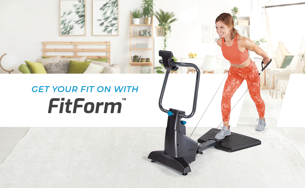 Woman in bright workout clothes exercising with the Teeter Fitform