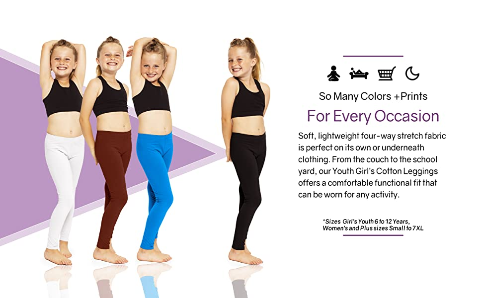 How to wear Girls Youth Premium Cotton Footless Leggings
