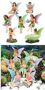 fairy garden miniature fairies set small fairy girls indoor outdoor whimsical whimsy sitting