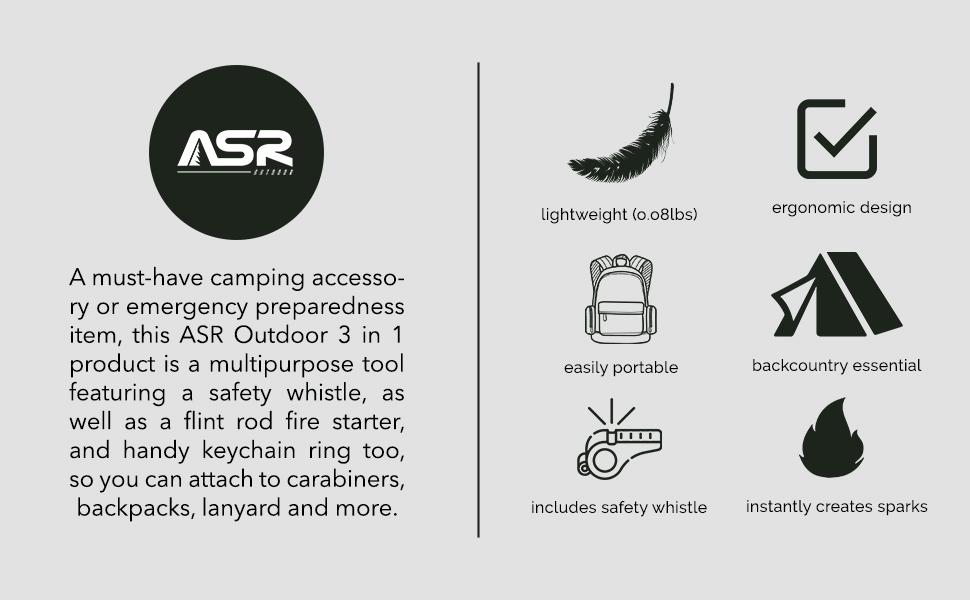 asr outdoor flint rod fire starter emergency preparedness items camping accessories camping gear