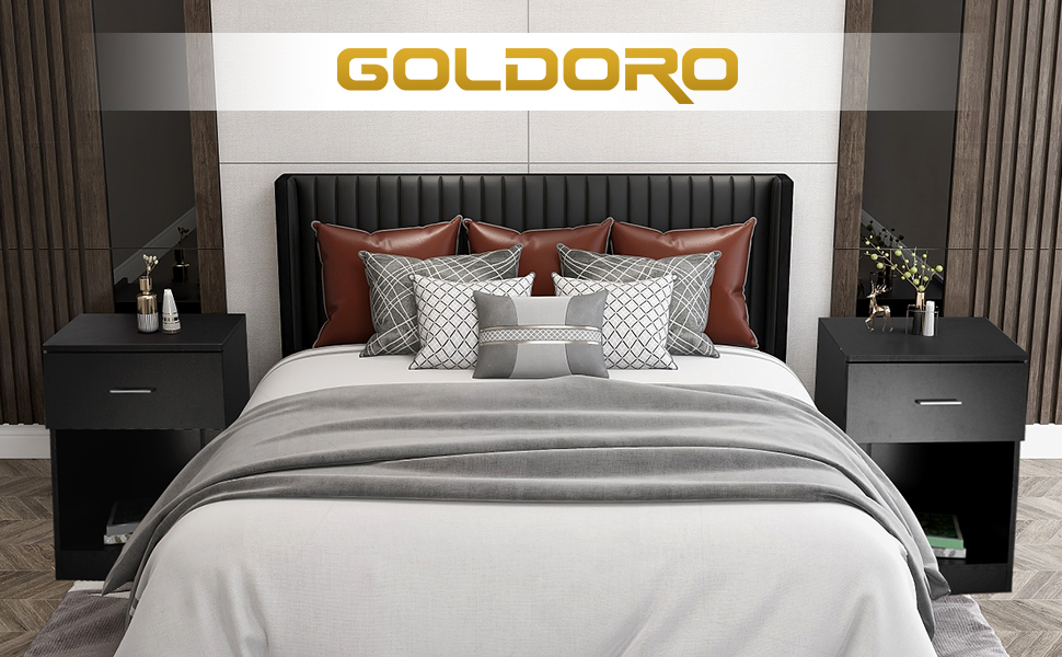 GOLDORO Nightstand with Drawer