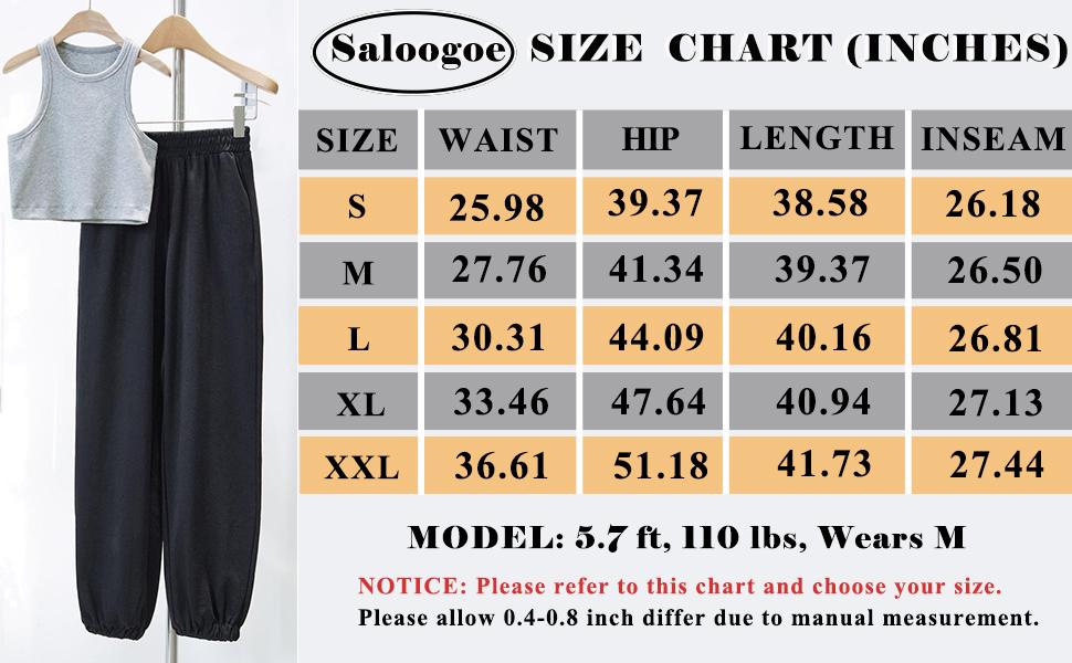 Saloogoe size chart