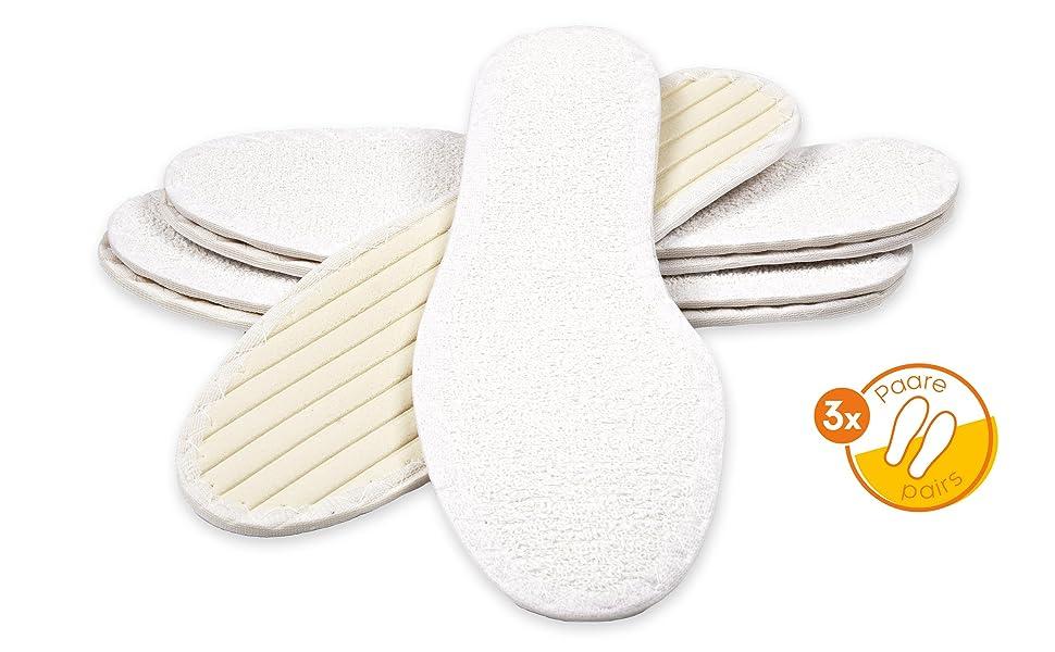 Einlegesohlen Kokos Schuh Einlagen Damen Herren Bauwolle Frotte 36-49 S0018