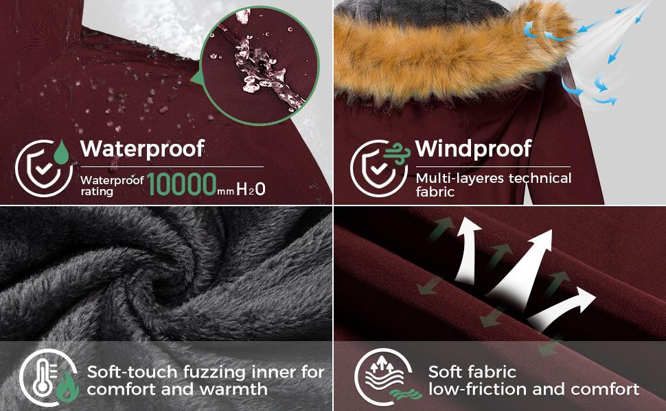 Women's Windproof Winter Snow Coat