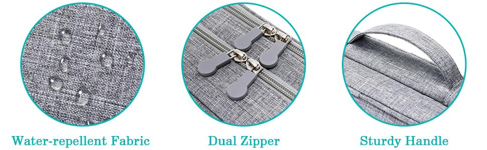 water-repellent fabric/dual zipper/sturdy handel