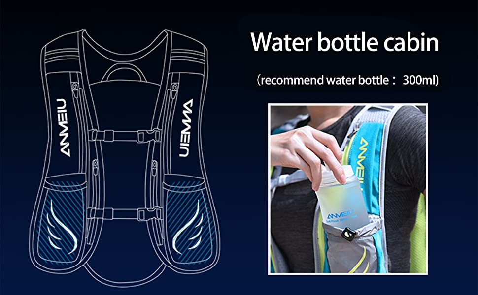 Two 300ml water bottles can be placed in front of the water backpack