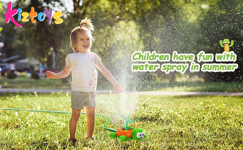 Read more about the article Kiztoys Outdoor Water Sprinkler for Kids and Toddlers Backyard Spinning Turtle Sprinkler Toy Wiggle Tubes Spray Splashing Fun for Summer Days Sprays Up to 8ft High Attaches to Garden Hose