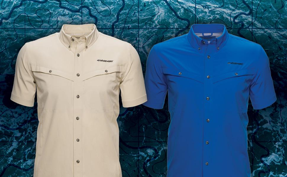 Whitewater Rapids Short Sleeve Fishing Shirt 2-Up