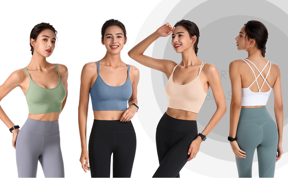 Evercute Cross Back Sport Bras Padded Strappy Criss Cross Cropped Bras for Yoga Workout
