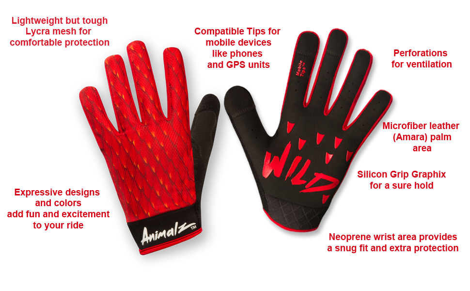 ROCRIDE ANIMALZ RED DRAGON CYCLING GLOVES
