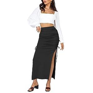 SK621 Bodycon  Split Long Maxi Skirt Black