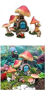 miniature fairy garden complete kit set mushroom house cottage animals home indoor outdoor