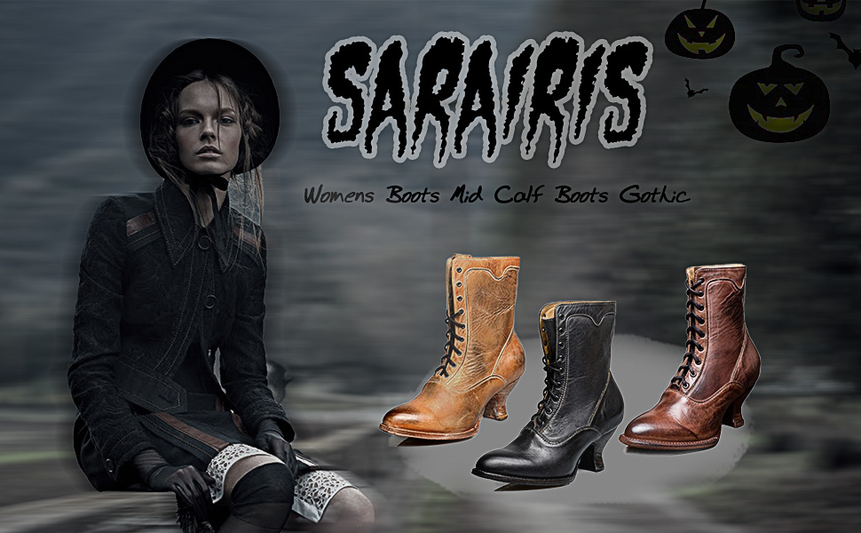 vintage mid calf boots for women goth boots gothic style