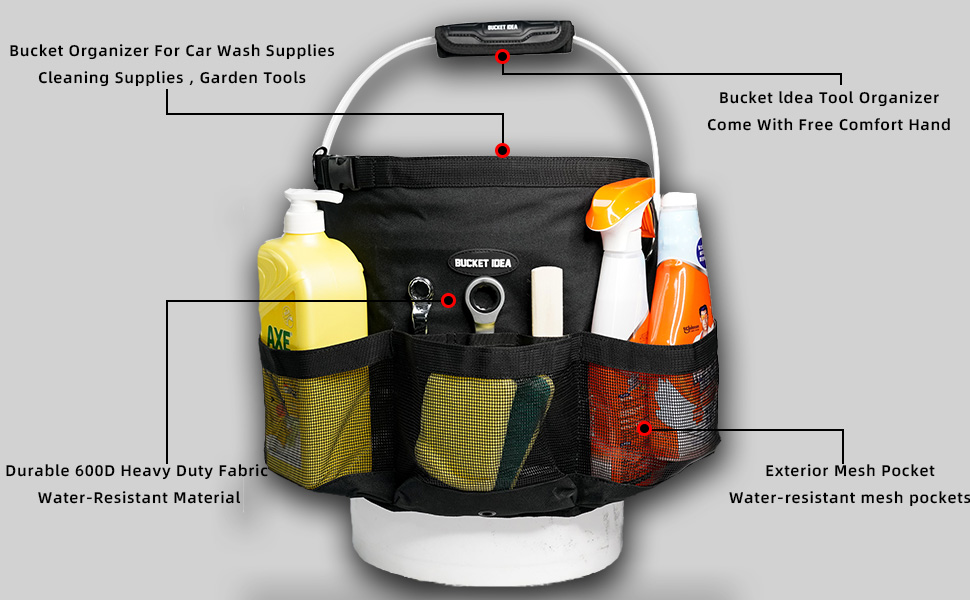 Bucket for Car Wash -bucket Stores car wash supplies, cleaning supplies , garden tools