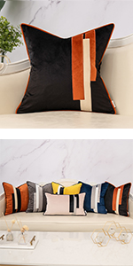 Black Striped Patchwork pillow cover