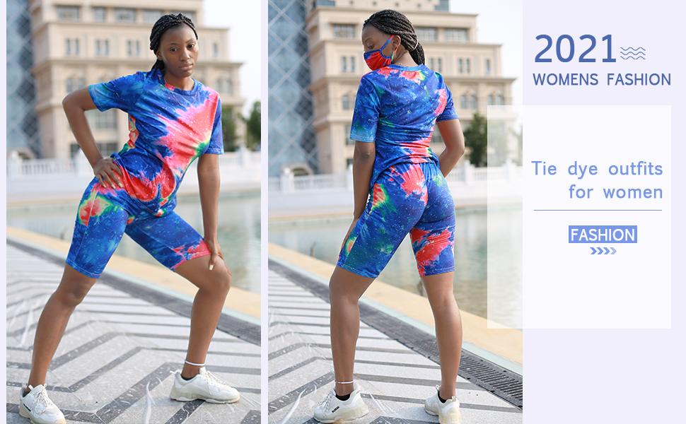 Fashion Tie Dye Tshirt and Bodycon Shorts Active Wear Set