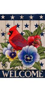 Home Decorative Welcome Cardinal Garden Flag