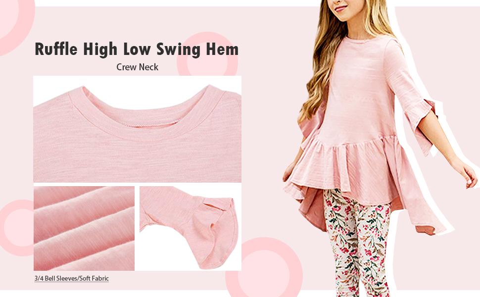 Girls blouses 3/4 Sleeve High Low Slim shirts