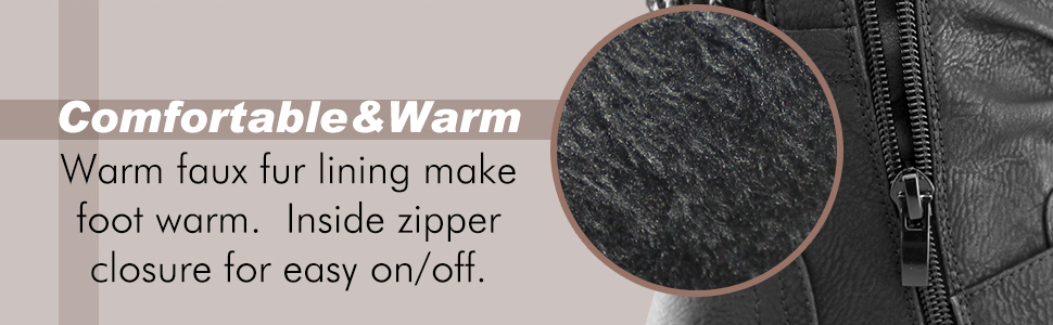 Soft plush faux fur lining,finished with a slightly padded faux leather insole for all day comfort.
