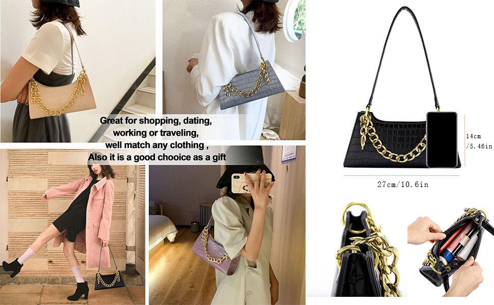 Women Shoulder Handbag Crocodile Cellphone Purse Wallet Handbag Purse Classic Clutch Handbag