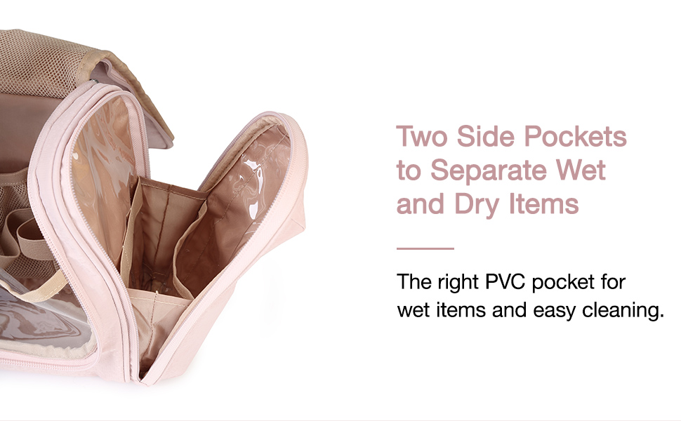 The right PVC pocket for wet items and easy cleaning