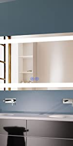 70inch lare wall mirror with led lights, bluetooth speakers,horizontally mounted with touch switch