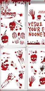 106PCS Bloody Handprint Footprints Halloween Stickers