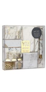 marble white stationery set gold binder clips foutain pen sticky note tape
