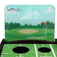 Wood Golf Putting Green Mat with Auto Ball Return