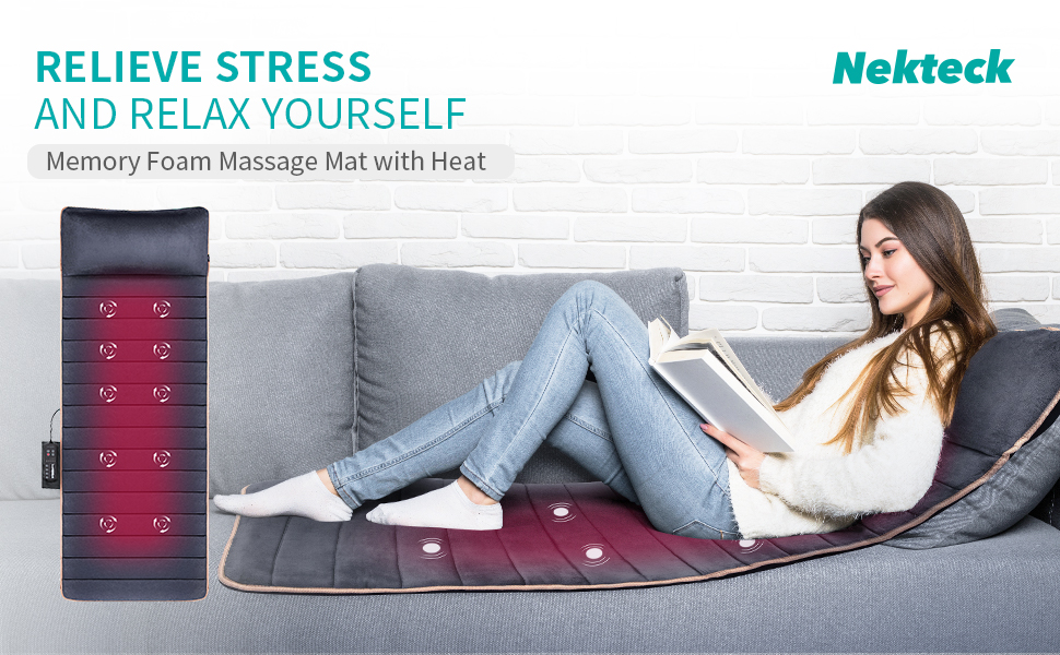 Nekteck Massage Mat, Vibrating Heating Pads, Full Body Memory Foam Massage Mattress