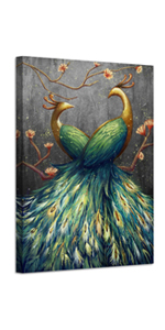 Peacock Picture Art Painting Canvas for Living Room Bedroom