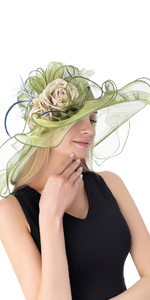Women's Organza Church Kentucky Derby Fascinator Bridal Tea Party Wedding Hat Army Green