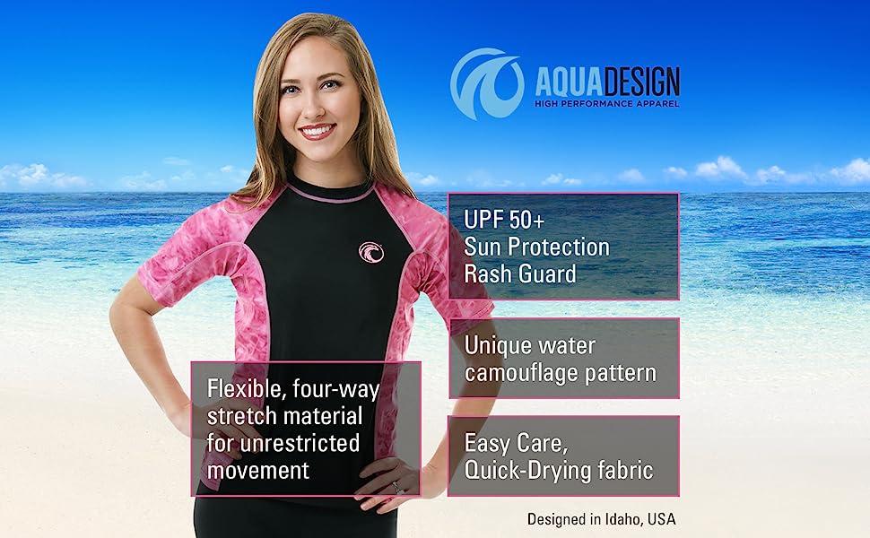 Big Wave Short Sleeve Rash Guard Swim Surf Snorkel Active Sport Yoga Jogging Shirt
