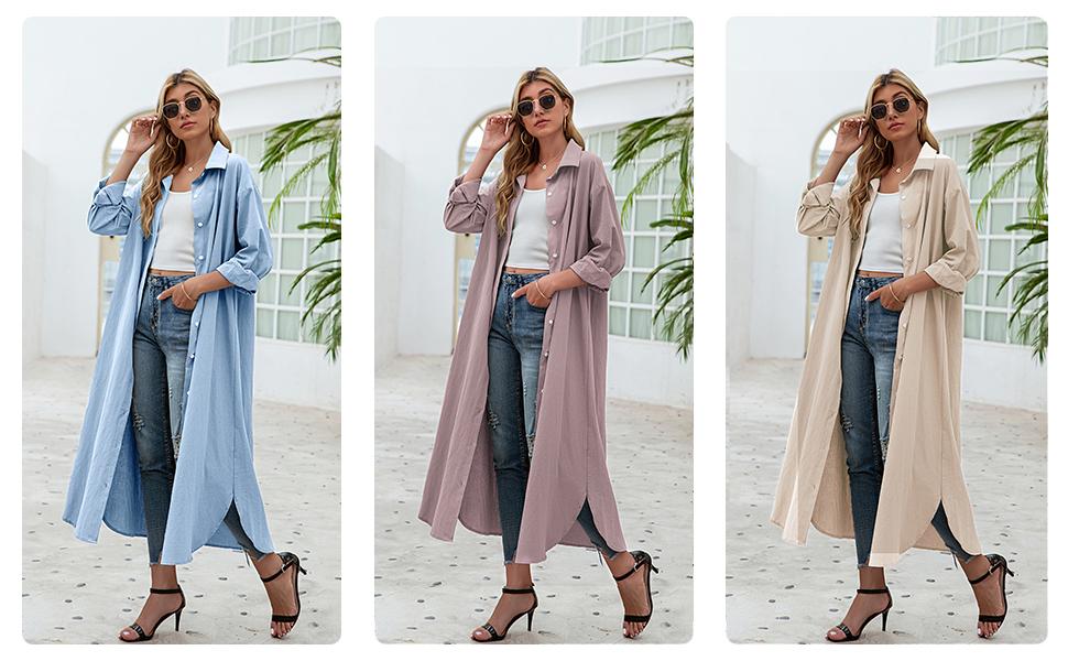 Women Long Sleeve Button Down Shirt Maxi Dress