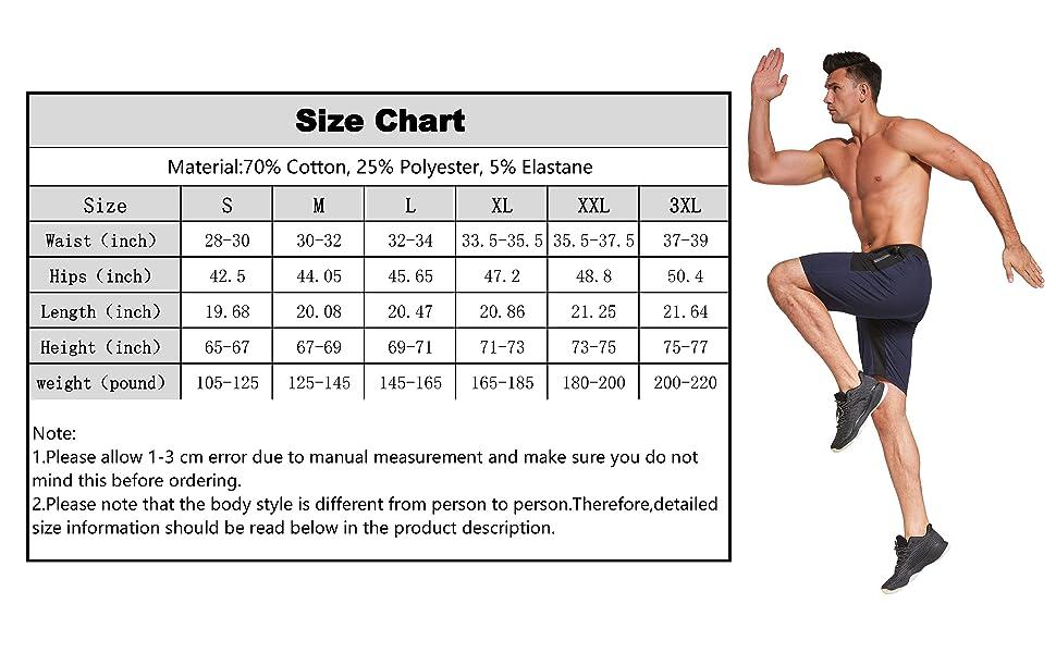 Justsun mens sports shorts size chart.
