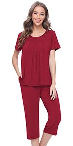 women short sleeve pajamas top capri pants sleepwear set bamboo viscose loungewear pjs