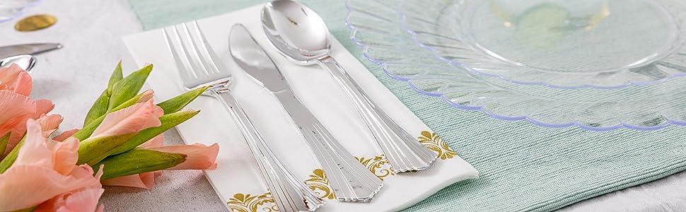 disposable forks, plasticware, wedding silverware