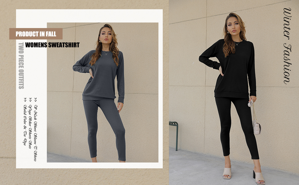 WIHOLL 2 Piece Outfits for Women Long Sleeve Creneck