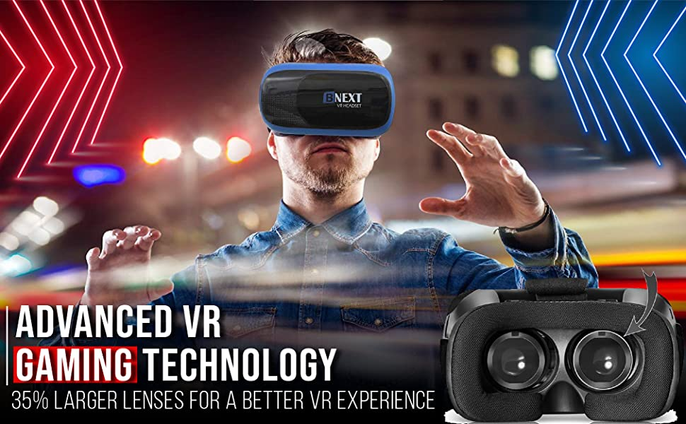 advanced VR gaming technology, larger lenses, better VR experience