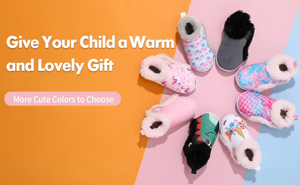 JIASUQI Lightweight Plush House Slippers Slip on Fuzzy Fur Sneakers Shoes for Toddler Boys Girls