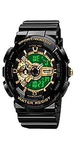 Mens Digital Sports Watch Gold