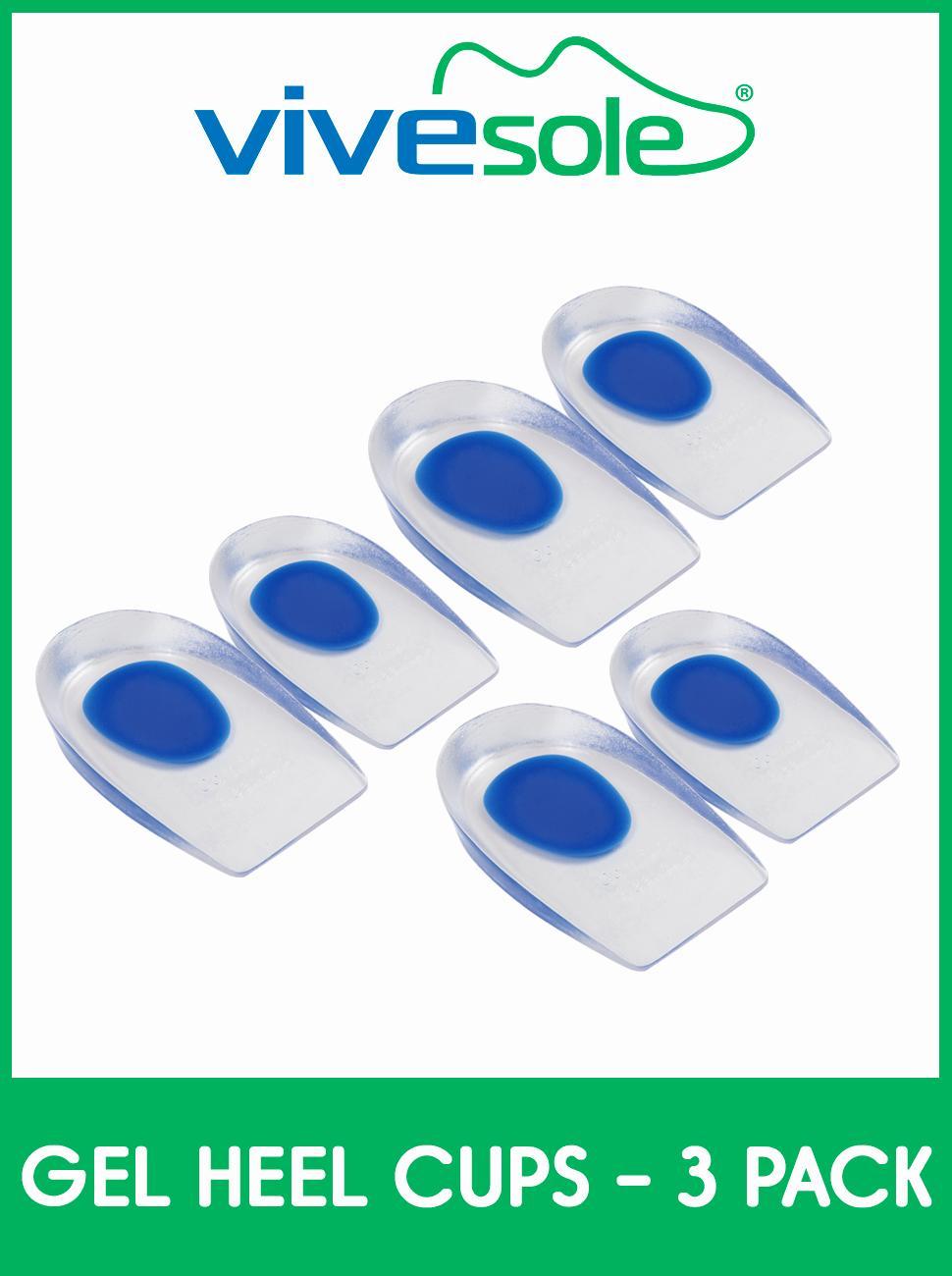 ViveSole Silicone Gel Heel Cups - Shoe Inserts for Plantar Fasciitis, Sore Heel, Bone Spur
