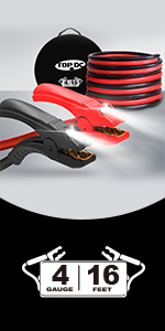 TOPDC 4 gauge 16 feet jumper cables with LED
