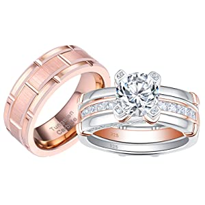 wedding ring set for  him and her