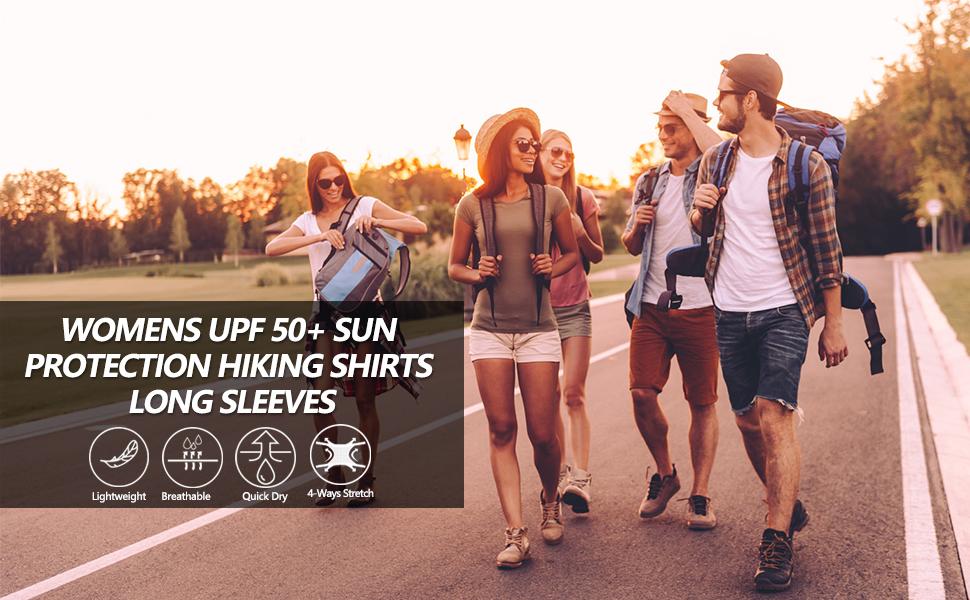 womens  upf 50+ sun protection hiking shirts