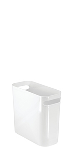 White Plastic Slim Rectangular Small Trash Can Wastebasket, Garbage Container Bin with Handles