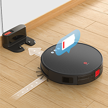 The robot vacuum can return to the charging dock automatically when the battery is low