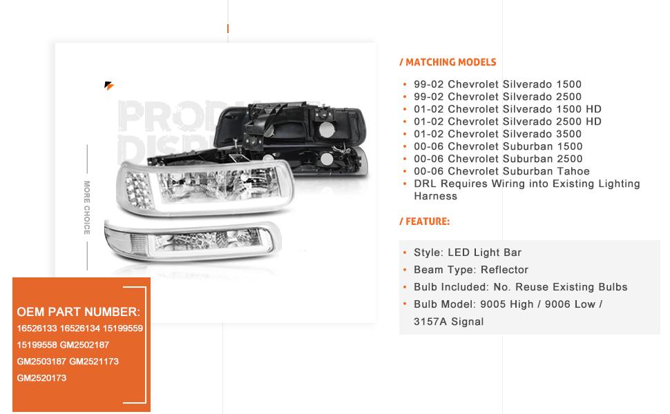chrome/clear led headlights