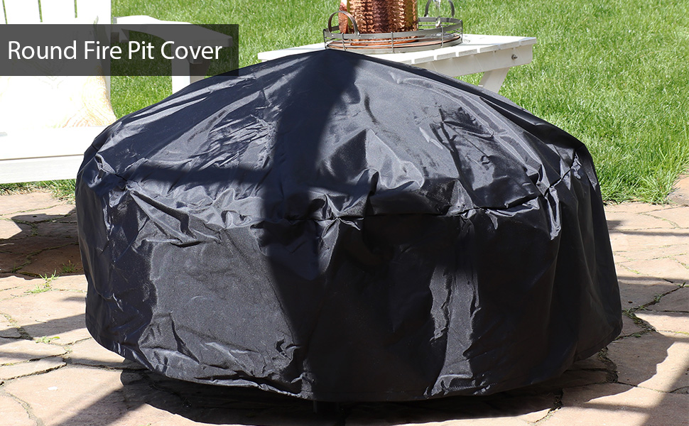 Black Durable Round Fire Pit Cover